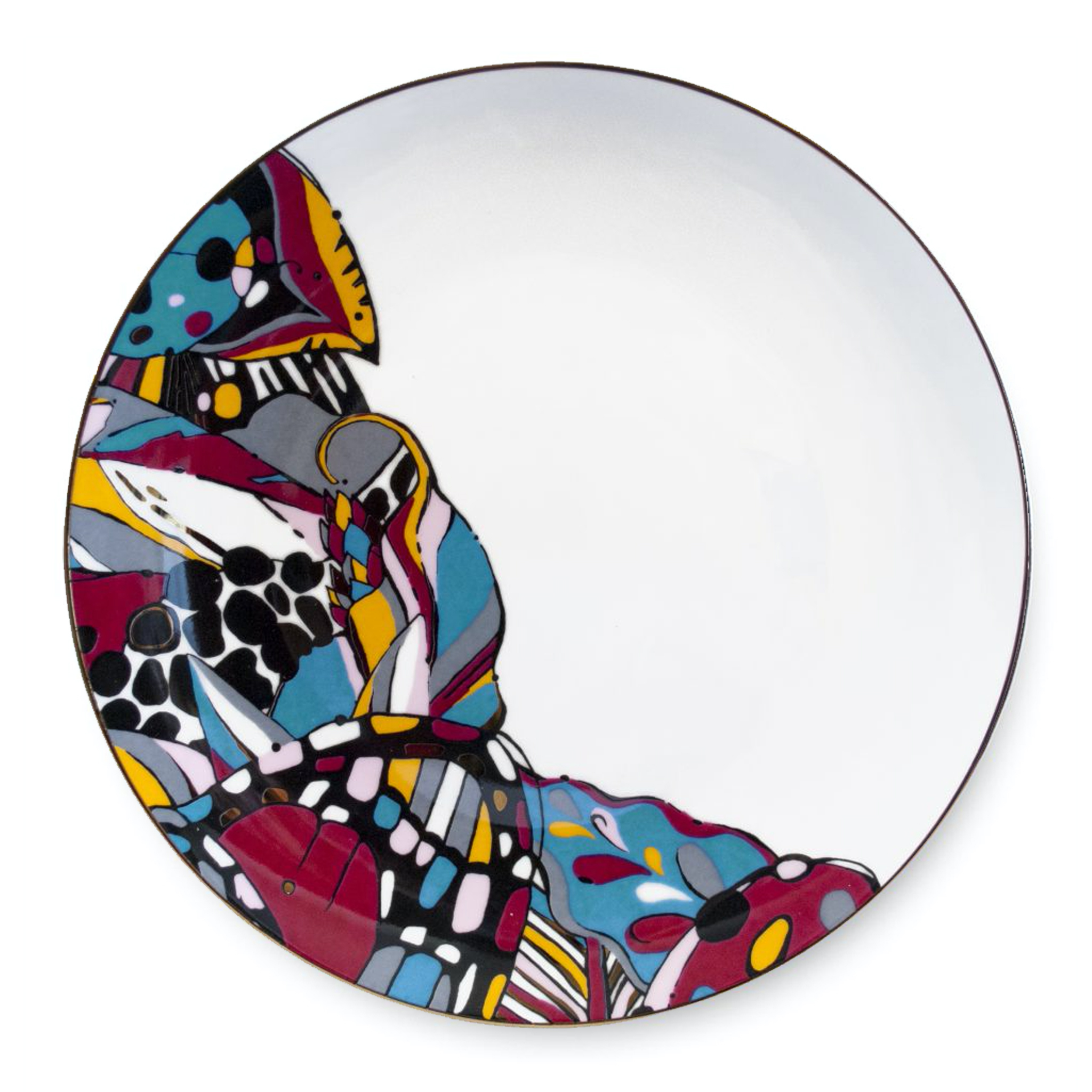 bold vibrant colourful abstract print china plate aase hopstock