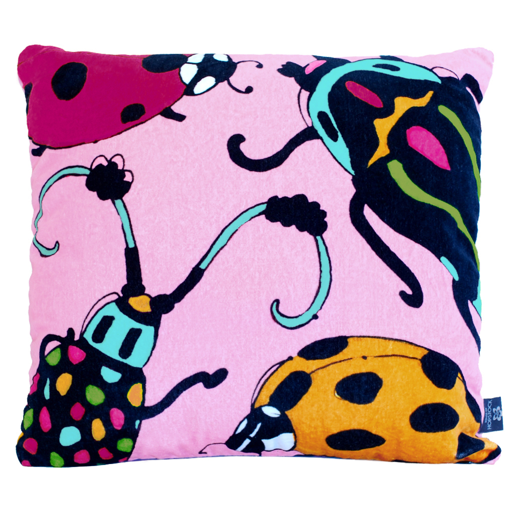 colourful velvet cushion playful unusual bugs insects pink aase hopstock