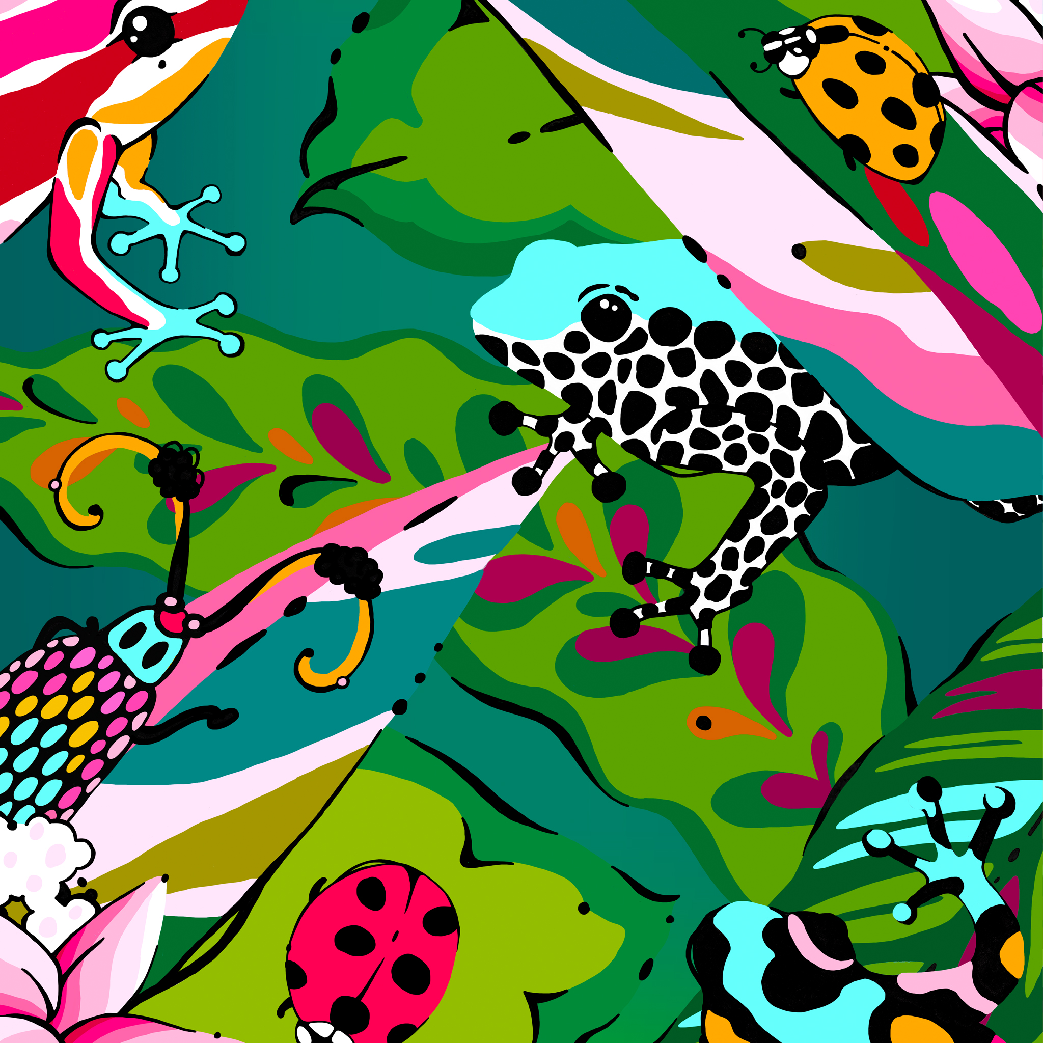 colourful jungle print frogs bugs insects aase hopstock