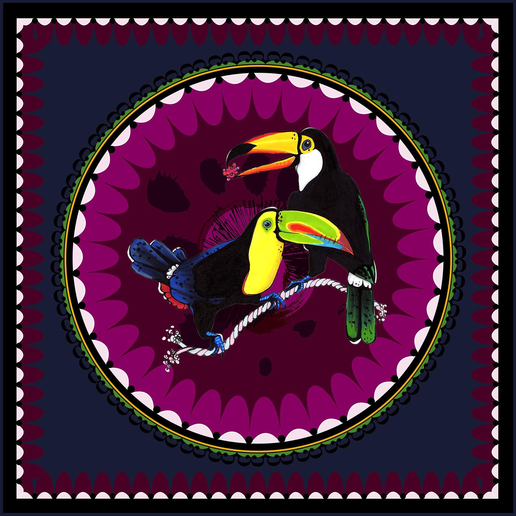 aase hopstock bold vibrant illustration silk scarf
