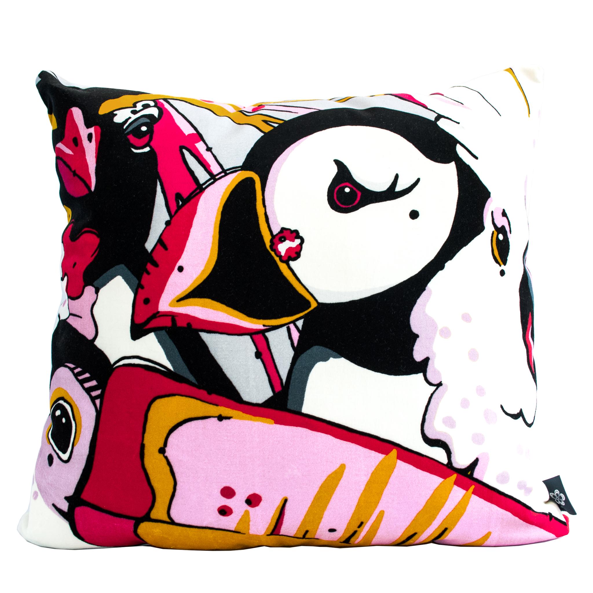 rare bird colourful velvet cushion aase hopstock