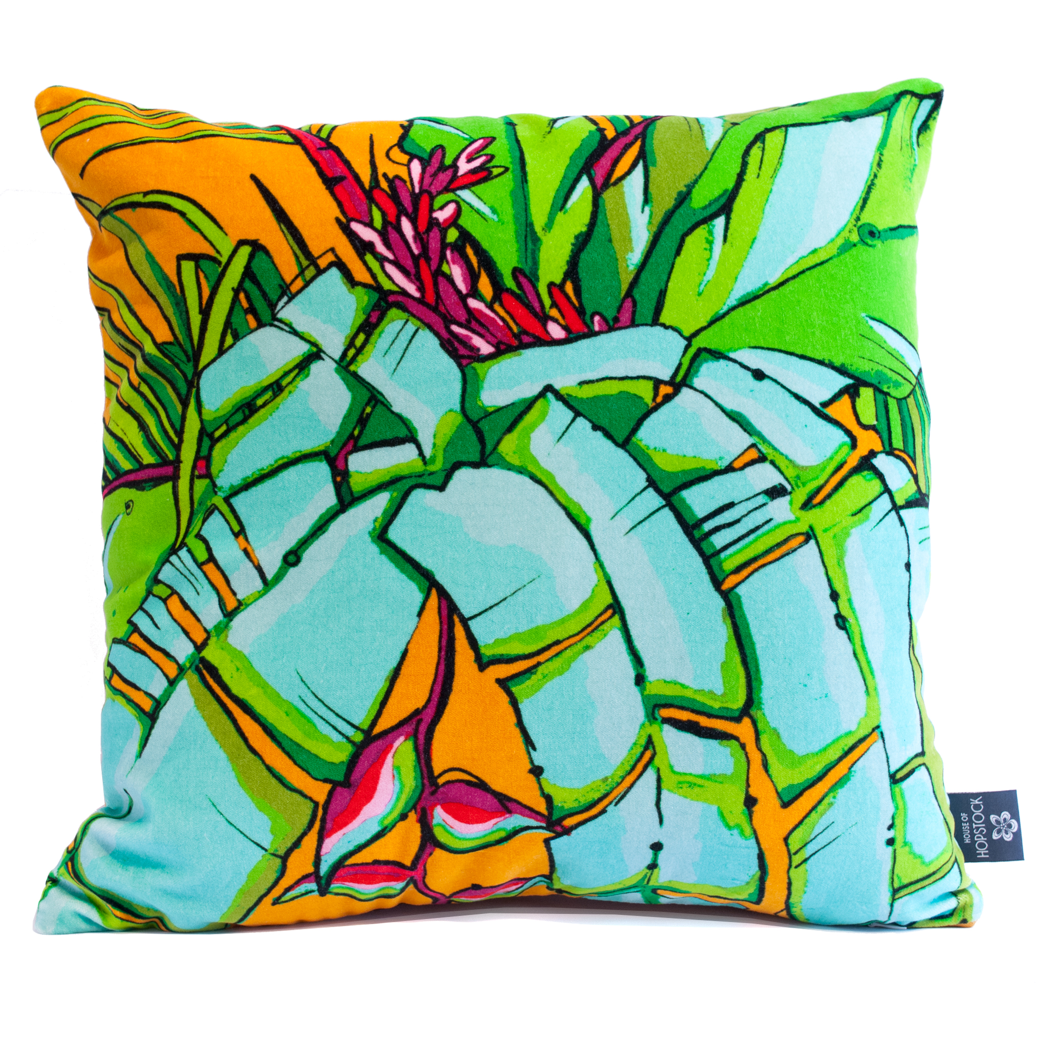 shangri la orange velvet cushion colourful print design aase hopstock