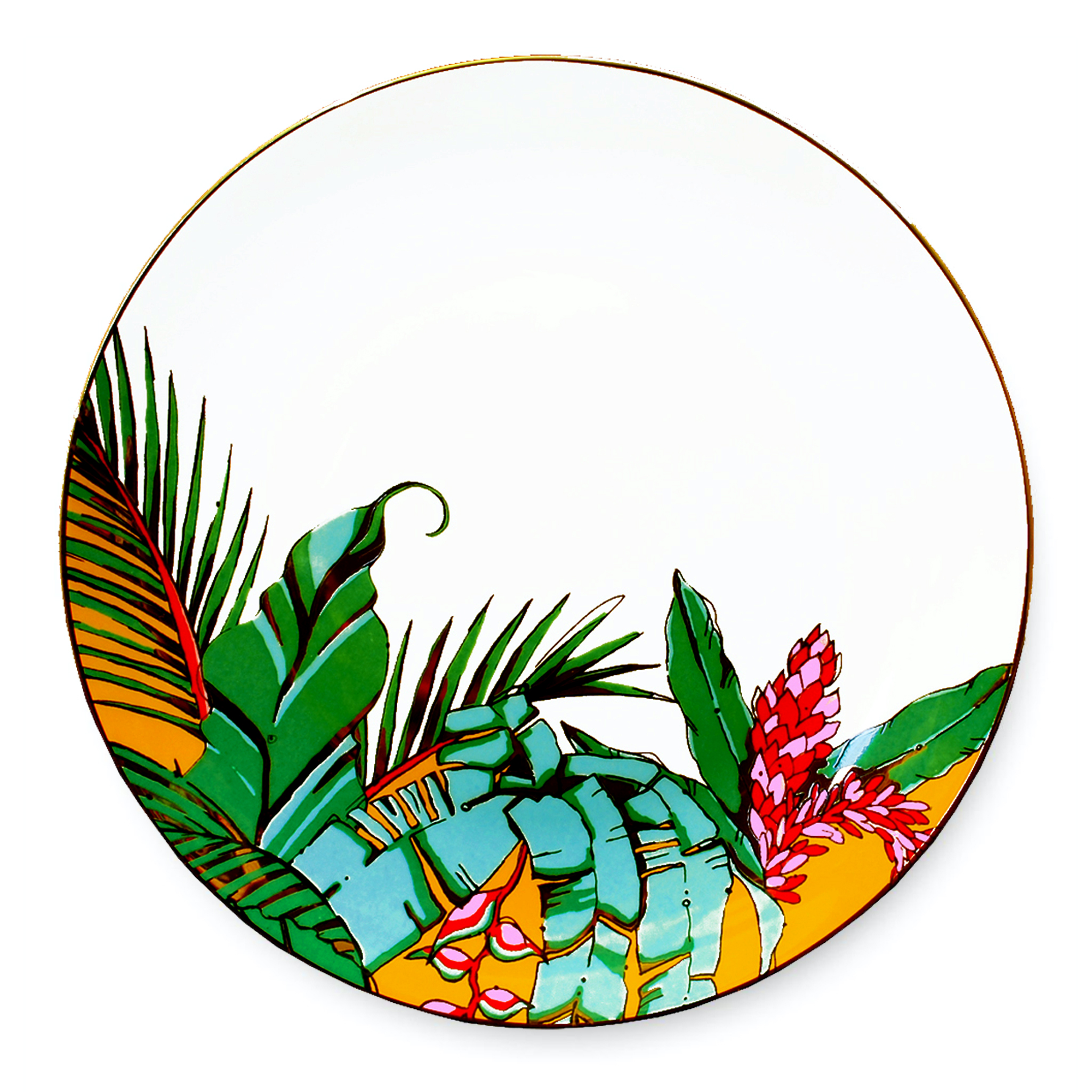 colourful tropical palm print china plate aase hopstock