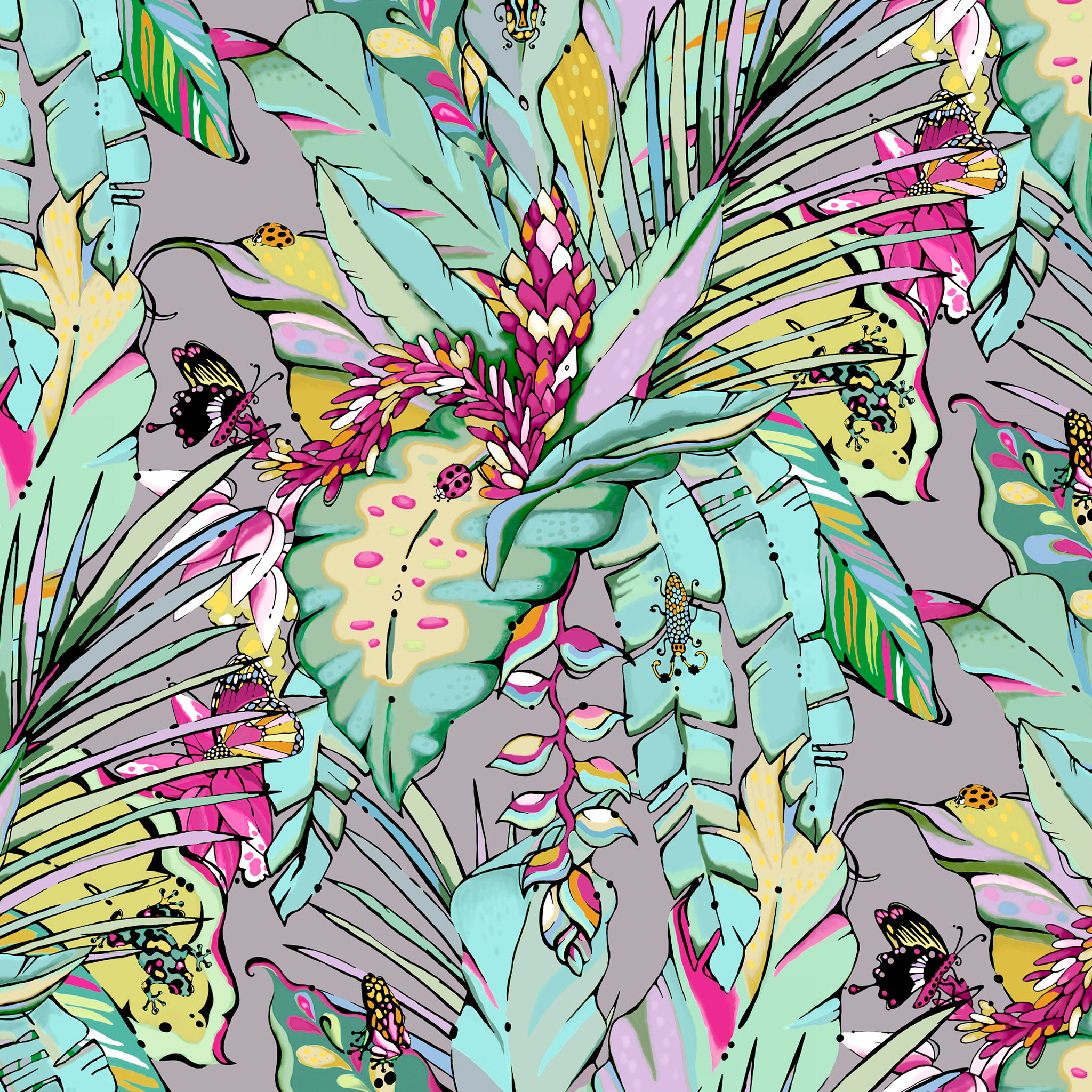 bold and vibrant illustrated tropical wallpaper aase hopstock