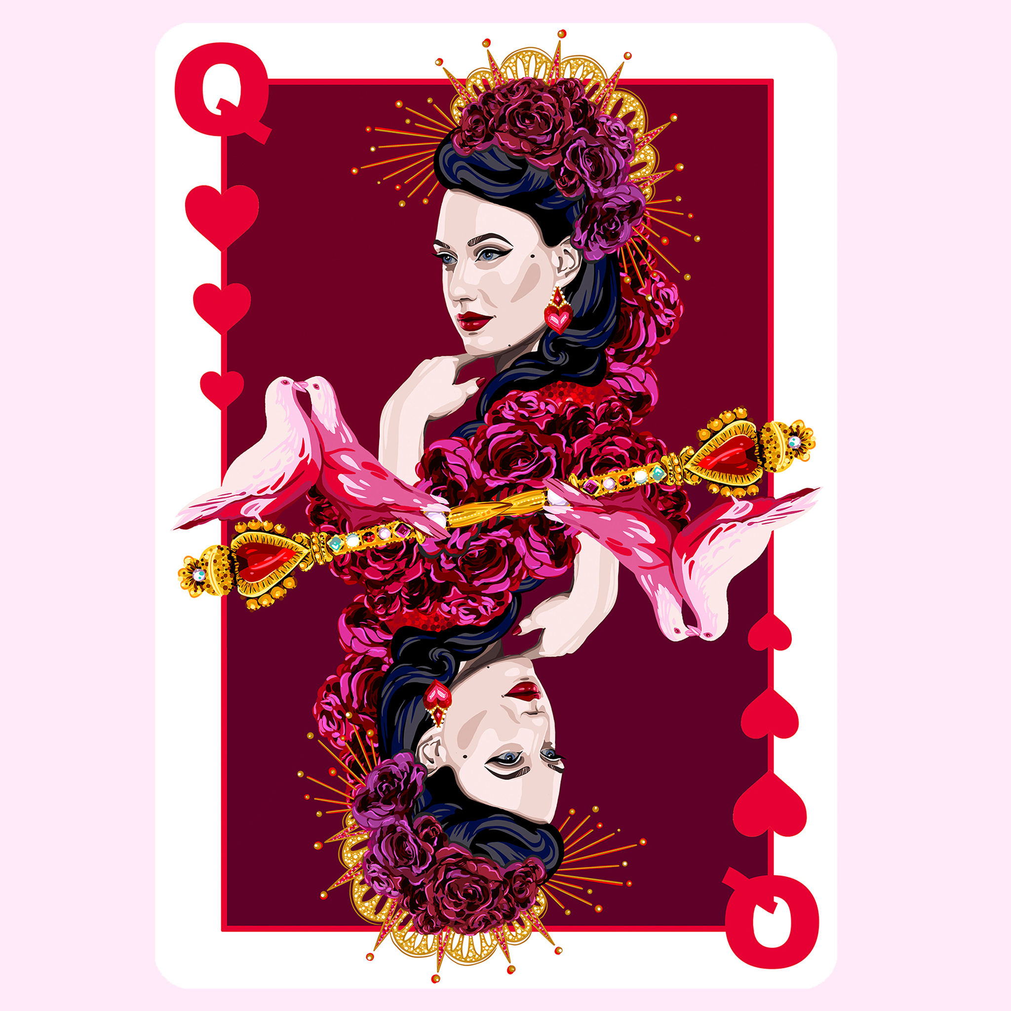 queen of hearts burlesque illustrated playing cards aase hopstock